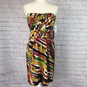 NWT Charlie Jade silk strapless dress size large